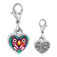 Link Charm Bracelet - 925  sterling silver colorful butterfly photo heart frame link charm Image.