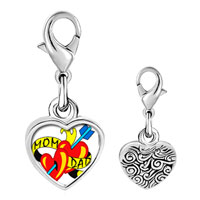 Link Charm Bracelet - 925  sterling silver mom and dad heart arrow photo heart frame link charm Image.