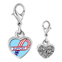 Link Charm Bracelet - 925  sterling silver support american ribbon photo heart frame link charm Image.
