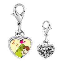 Link Charm Bracelet - 925  sterling silver sleeping baby photo heart frame link charm Image.