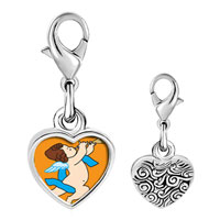 Link Charm Bracelet - 925  sterling silver baby angel trumpeting photo heart frame link charm Image.