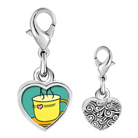 Link Charm Bracelet - 925  sterling silver warm tea coffee photo heart frame link charm Image.
