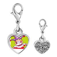Link Charm Bracelet - 925  sterling silver joker monkey photo heart frame link charm Image.
