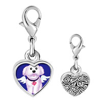 Link Charm Bracelet - 925  sterling silver white dog from heavenphoto heart frame link charm Image.