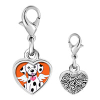 Link Charm Bracelet - 925  sterling silver dalmatian dog from heaven photo heart frame link charm Image.