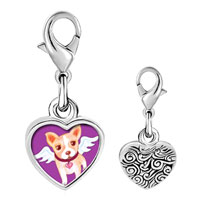 Link Charm Bracelet - 925  sterling silver chihuahua dog from heaven photo heart frame link charm Image.