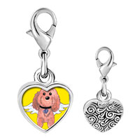 Link Charm Bracelet - 925  sterling silver brown dog from heaven photo heart frame link charm Image.
