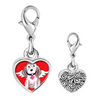 Link Charm Bracelet - 925  sterling silver dog from heaven photo heart frame link charm Image.