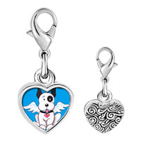 Link Charm Bracelet - 925  sterling silver black and white dog from heaven photo heart frame link charm Image.
