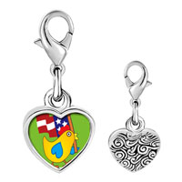 Link Charm Bracelet - 925  sterling silver american duck photo heart frame link charm Image.