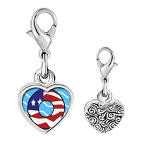 Link Charm Bracelet - 925  sterling silver american flag donut photo heart frame link charm Image.