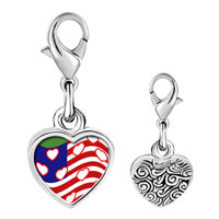 Link Charm Bracelet - 925  sterling silver american flag with hearts photo heart frame link charm Image.