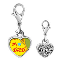 Link Charm Bracelet - 925  sterling silver number 1  dad photo heart frame link charm Image.
