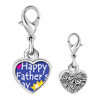 Link Charm Bracelet - 925  sterling silver happy father' s day photo heart frame link charm Image.