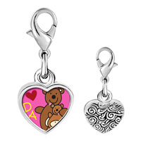 Link Charm Bracelet - 925  sterling silver teddy bear dad photo heart frame link charm Image.