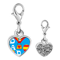 Link Charm Bracelet - 925  sterling silver dad balloons photo heart frame link charm Image.