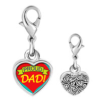 Link Charm Bracelet - 925  sterling silver proud dad photo heart frame link charm Image.