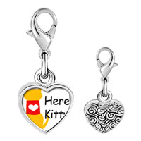Link Charm Bracelet - 925  sterling silver here kitty heart photo heart frame link charm Image.