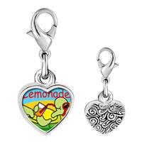 Link Charm Bracelet - 925  sterling silver summer turtle lemonade photo heart frame link charm Image.