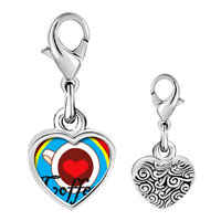 Link Charm Bracelet - 925  sterling silver heart coffee photo heart frame link charm Image.