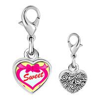Link Charm Bracelet - 925  sterling silver sweet hearts photo heart frame link charm Image.