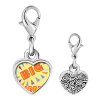 Link Charm Bracelet - 925  sterling silver big daddy photo heart frame link charm Image.