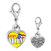 Link Charm Bracelet - 925  sterling silver american patriotic mom photo heart frame link charm Image.