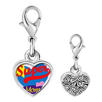 Link Charm Bracelet - 925  sterling silver super mom heart photo heart frame link charm Image.
