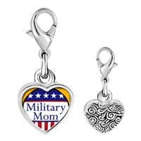 Link Charm Bracelet - 925  sterling silver american military mom photo heart frame link charm Image.
