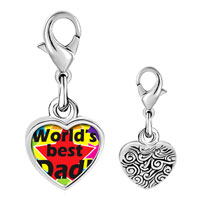 Link Charm Bracelet - 925  sterling silver world' s best dad photo heart frame link charm Image.