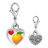 Link Charm Bracelet - 925  sterling silver heart orange photo heart frame link charm Image.