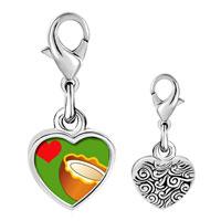 Link Charm Bracelet - 925  sterling silver heart coconut photo heart frame link charm Image.