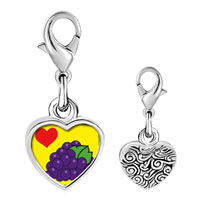 Link Charm Bracelet - 925  sterling silver heart grapes photo heart frame link charm Image.