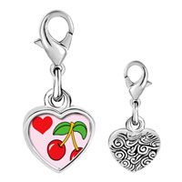 Link Charm Bracelet - 925  sterling silver heart cherries photo heart frame link charm Image.