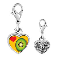 Link Charm Bracelet - 925  sterling silver heart kiwi photo heart frame link charm Image.