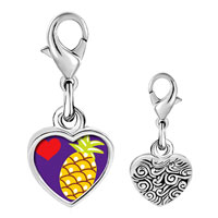 Link Charm Bracelet - 925  sterling silver heart pineapple photo heart frame link charm Image.