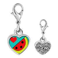 Link Charm Bracelet - 925  sterling silver heart watermelon photo heart frame link charm Image.