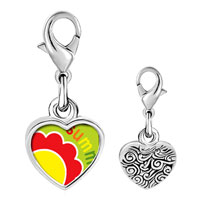 Link Charm Bracelet - 925  sterling silver summer flower photo heart frame link charm Image.