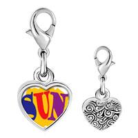 Link Charm Bracelet - 925  sterling silver summertime sun photo heart frame link charm Image.