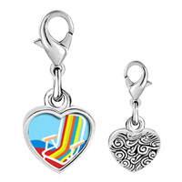 Link Charm Bracelet - 925  sterling silver colorful beach chair photo heart frame link charm Image.