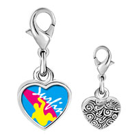 Link Charm Bracelet - 925  sterling silver guy surfing yellow photo heart frame link charm Image.