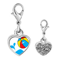 Link Charm Bracelet - 925  sterling silver beach ball photo heart frame link charm Image.