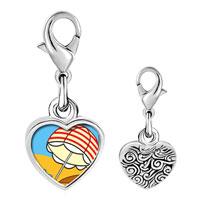 Link Charm Bracelet - 925  sterling silver beach umbrella photo heart frame link charm Image.