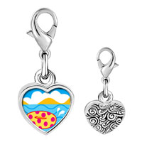 Link Charm Bracelet - 925  sterling silver donut in water photo heart frame link charm Image.
