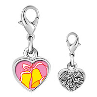 Link Charm Bracelet - 925  sterling silver wedding bells yellow photo heart frame link charm Image.
