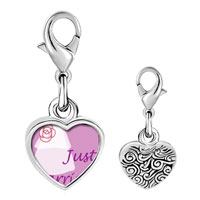 Link Charm Bracelet - 925  sterling silver just married photo heart frame link charm Image.