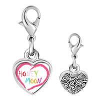 Link Charm Bracelet - 925  sterling silver honeymoon heart photo heart frame link charm Image.