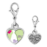 Link Charm Bracelet - 925  sterling silver heart my bride photo heart frame link charm Image.