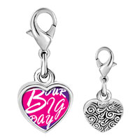 Link Charm Bracelet - 925  sterling silver our big day heart photo heart frame link charm Image.