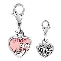 Link Charm Bracelet - 925  sterling silver fancy bridal shoes photo heart frame link charm Image.